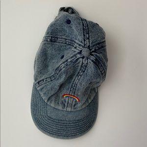 Denim rainbow embroidered ball cap